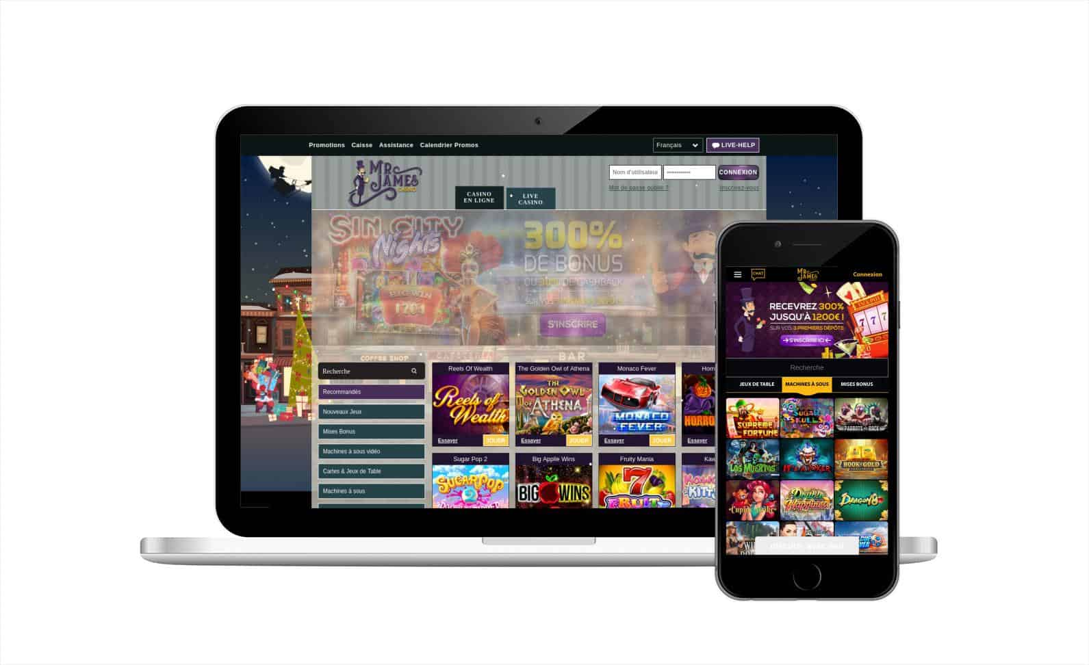 Avis casino Mr James : casino en ligne avec un service parfait